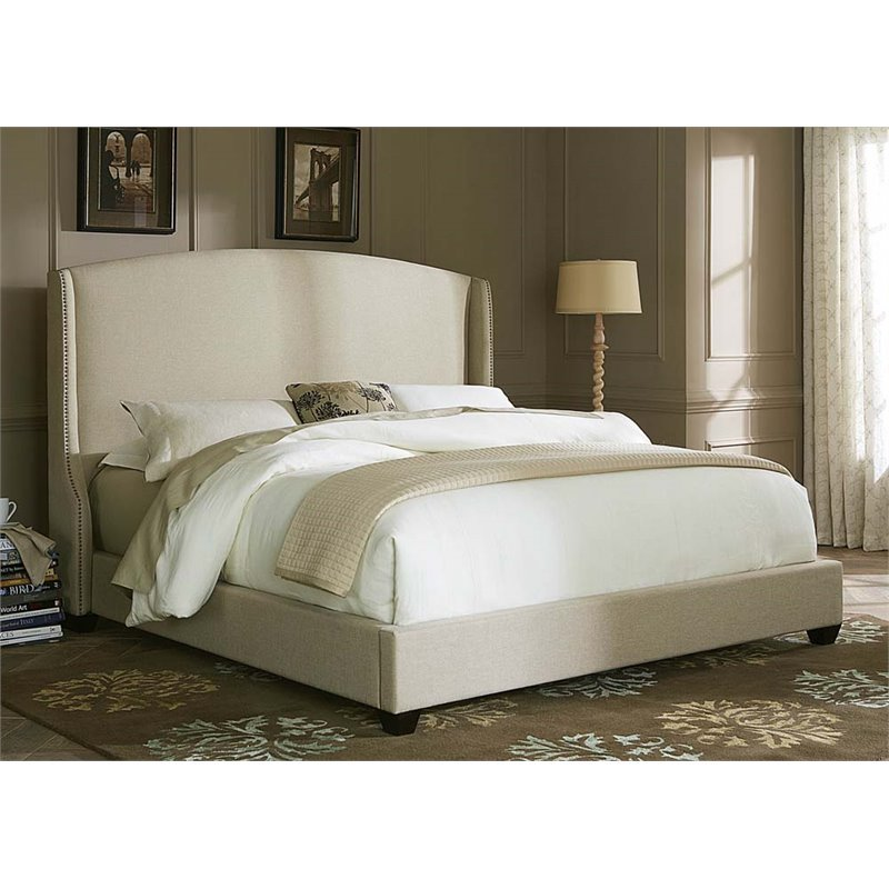 Liberty Furniture Linen Fabric Upholstered King Shelter Bed in Natural