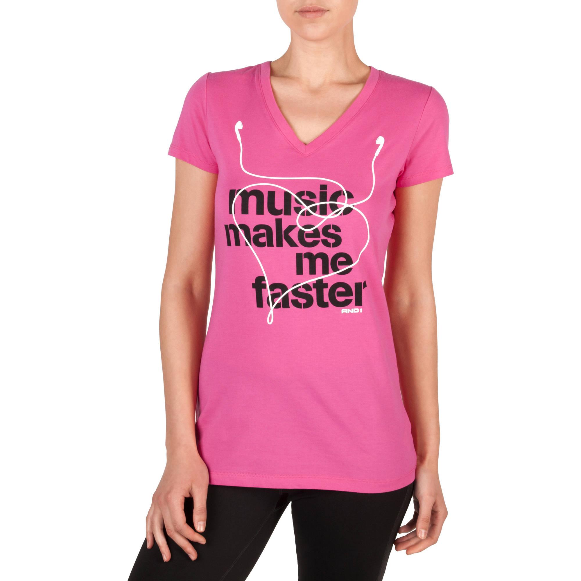 AND1 Women's Music Makes Me Faster Short Sleeve V-Neck T-Shirt