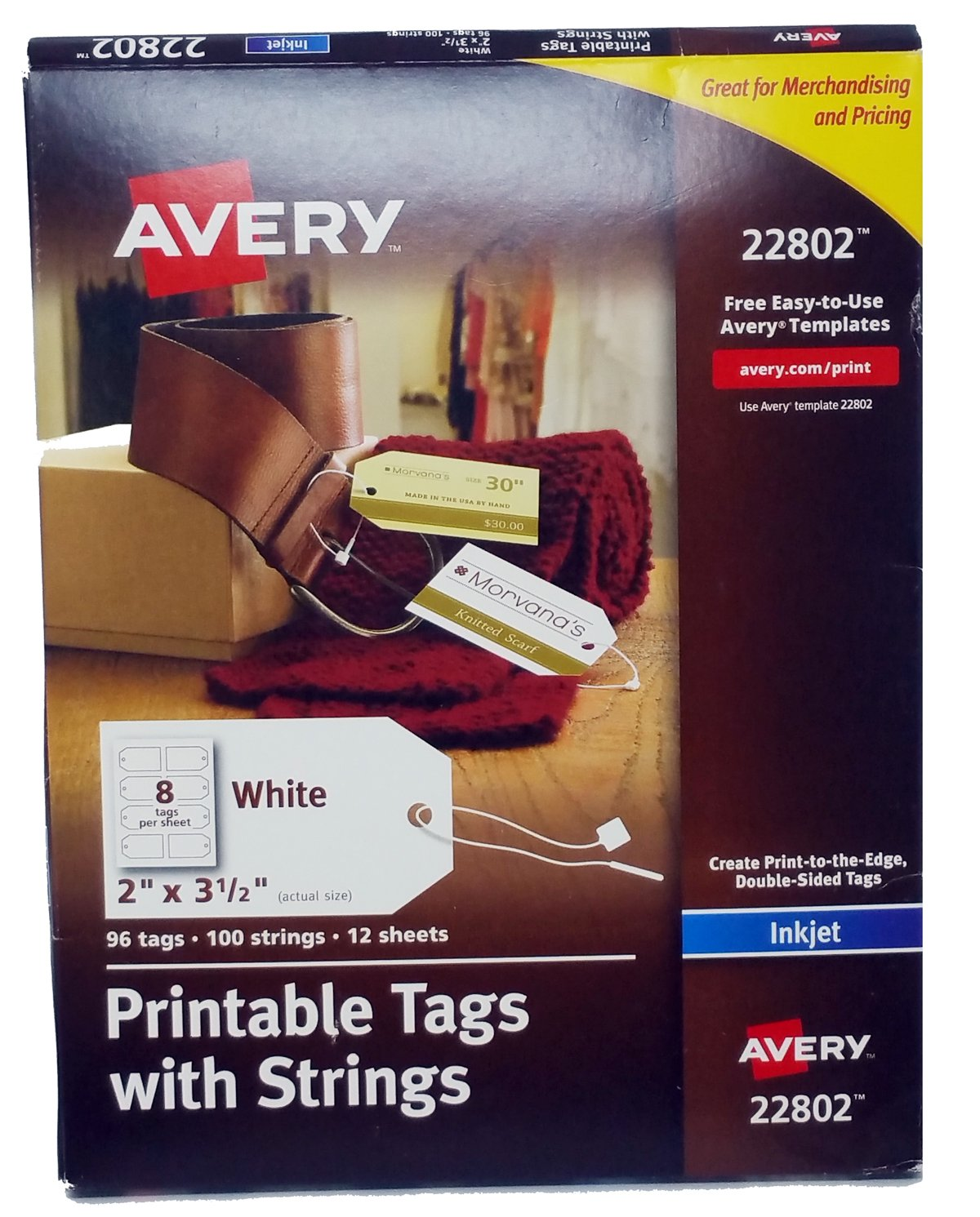 photograph relating to Printable Tags With Strings referred to as Avery Printable Tags with Strings for Inkjet Printers, 2 x 3.5-Inches, Pack of 96 Tags (22802) (Open up Box)