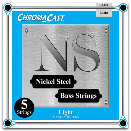 ChromaCast Nickel Steel 5-String Bass Guitar Strings, Light