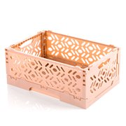 Foldable Plastic Stackable Storage Basket Houseohld Table Top Sundries Organizer Basket - Nordic Pink