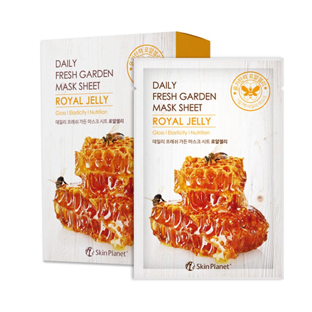 Set of 10, The Elixir Beauty SKIN PLANET Daily Fresh Garden Tencel Mask Sheet Korean Beauty Cosmetic Facial Mask Pack, 25g (Royal Jelly - Gloss, Elasticity, Nutrition)