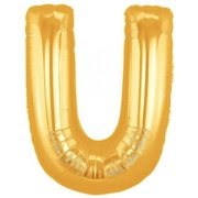 "Large Letter U Gold Megaloons 40"" Mylar Balloon"