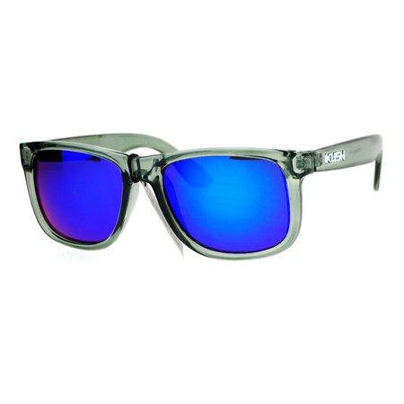 Kush Premium Translucent Slate Frame Colored Mirror Lens Rectangular Sunglasses Teal - Teal Sunglasses