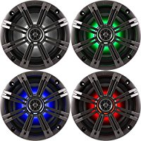 2- Pair (4-Speakers) Kicker 6.5  195W LED Marine Audio Coaxial Stereo Multi Color LED Lights, Charcoal Grills