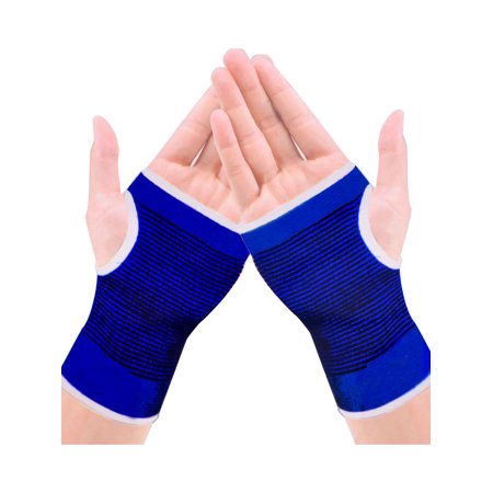 Unique Bargains Lady Blue Black Striped Stretchy Knitting Thumbhole Wrist Warmer Gloves (Striped Wrist Warmers)