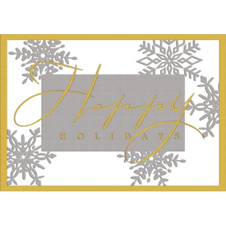 Greetings Box - Designer Greetings Happy Holidays Foil Box of 18 Christmas Cards