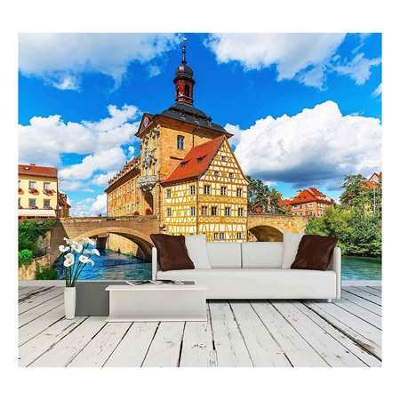 144 Mm To Inches (wall26 - Scenic Summer View of The Old Town Architecture with City Hall Building in Bamberg, Germany - Removable Wall Mural | Self-Adhesive Large Wallpaper - 100x144)