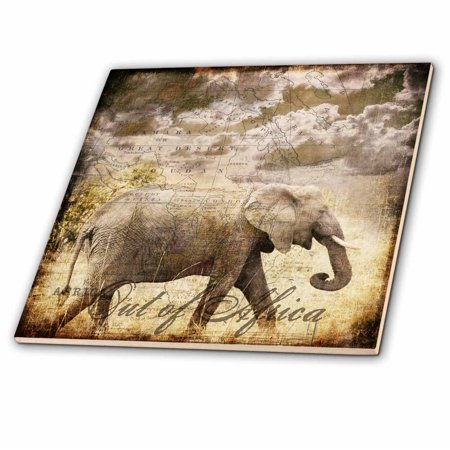 3dRose Elephant mixed media collage out of Africa text - Ceramic Tile, 4-inch