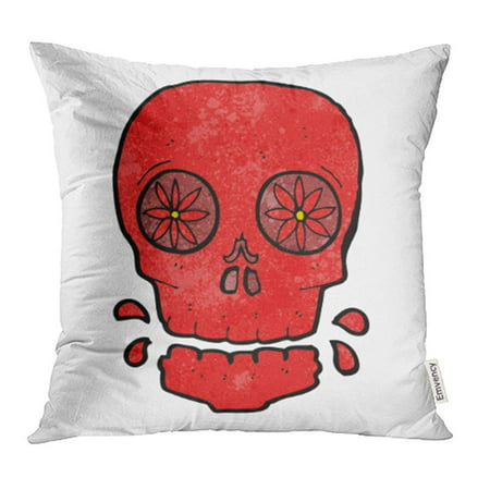 CMFUN Drawing Cartoon Mexican Candy Skull Character Clip Crazy Cute Doodle Funny Halloween Pillow Case Pillow Cover 16x16 inch Throw Pillow Covers