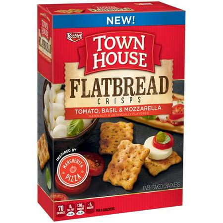 (2 Pack) Keebler Town House Flatbread Crisps Tomato, Basil & Mozzarella Crackers 9.5 oz. - Tomato Mozzarella Pizza