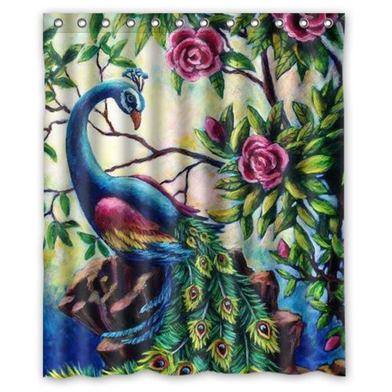 "60""x71"" Peacock Waterproof Bathroom Set Shower Curtain Polyester Fabric + 12 Hooks Home Decor Gift"