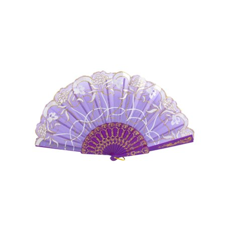 Unique Bargains Chinese Japanese Glitter Flower Floral Fabric Folding Dancing Hand Fan Purple - Folding Hand Fans