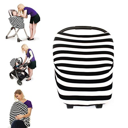 Multi-Use Nursing Breastfeeding Cover Scarf Stretchy Shawl Baby Car Seat Canopy Shopping Cart, Stroller, Carseat Covers for Girls and Boys