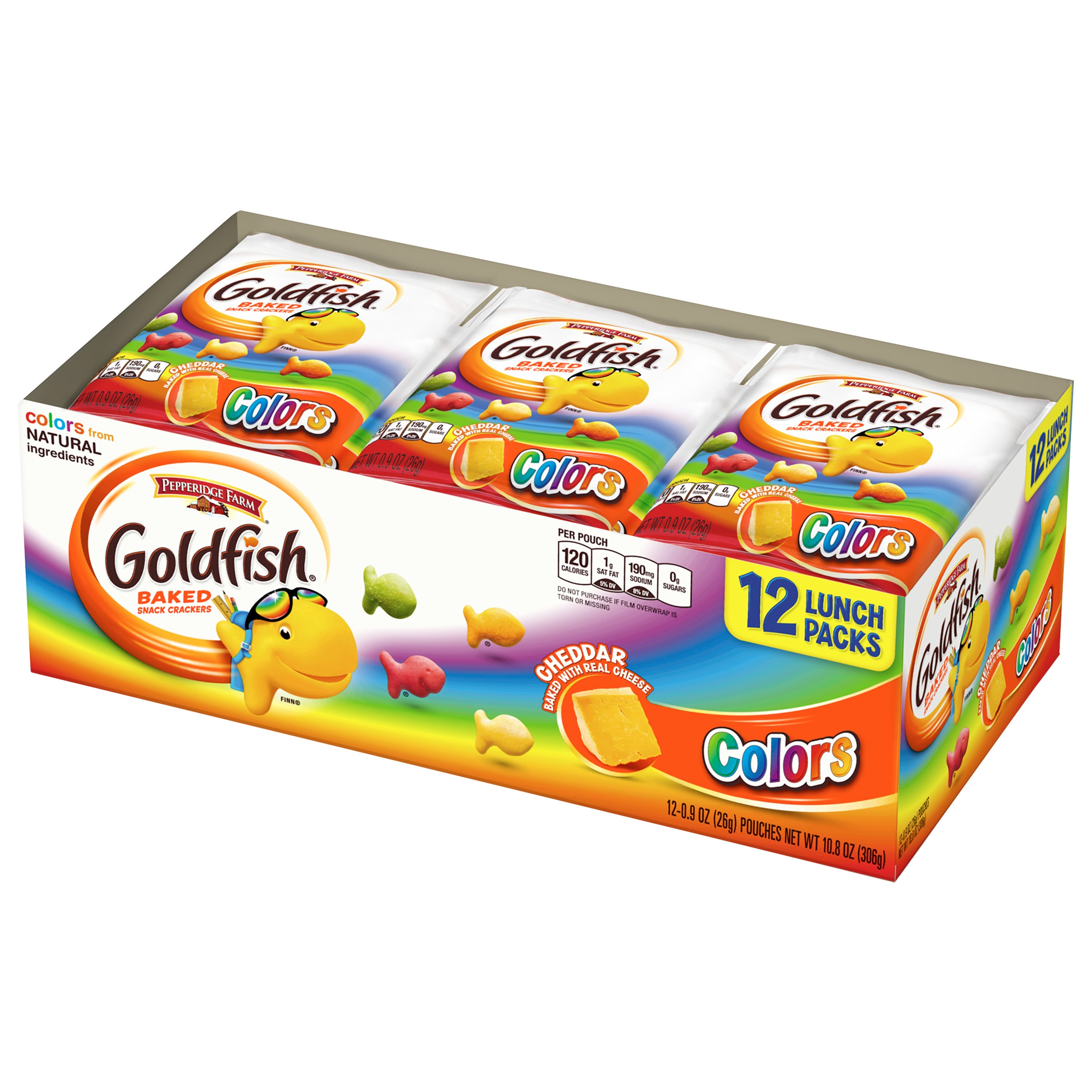 Pepperidge Farm® Goldfish® Baked Cheddar Colors Snack Crackers 12-0.9 oz. Pouches