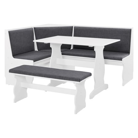 Linon Sasha Nook, Charcoal and White, Includes Corner Unit, Table and - Kitchen Dining Nook Bench