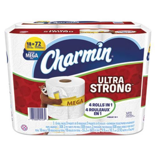 Charmin Ultra Strong Bath Tissue - 2 Ply - White - Durable, Strong, Soft - For Toilet - 18 / Pack (94143ct)