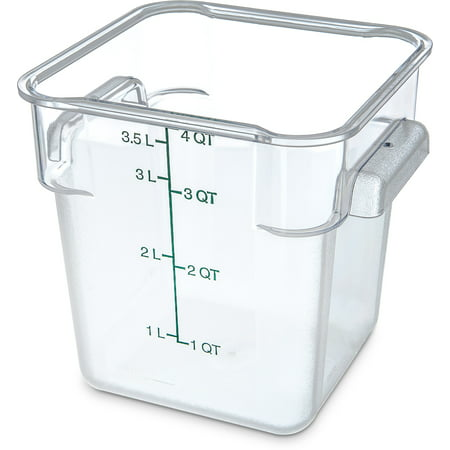 Carlisle 10721-07 4 Qt Clear Square Food Storage Container