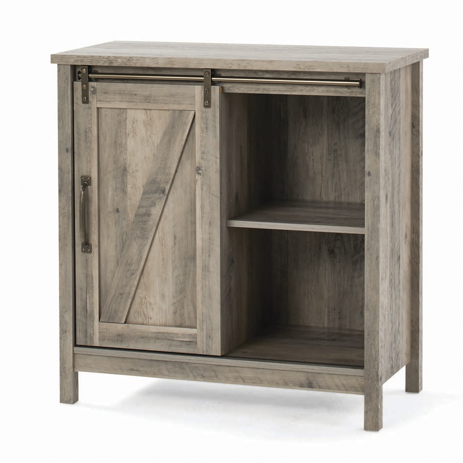 Better Homes & Gardens Modern Farmhouse Accent Storage Cabinet, Rustic Gray Finish