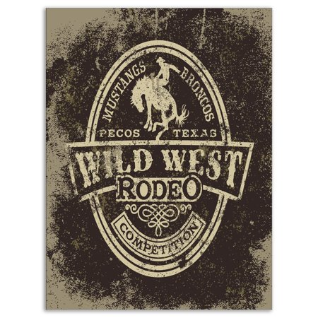DESIGN ART Designart 'Wild west rodeo' Farmhouse Contemporary Art on wrapped Canvas - Brown
