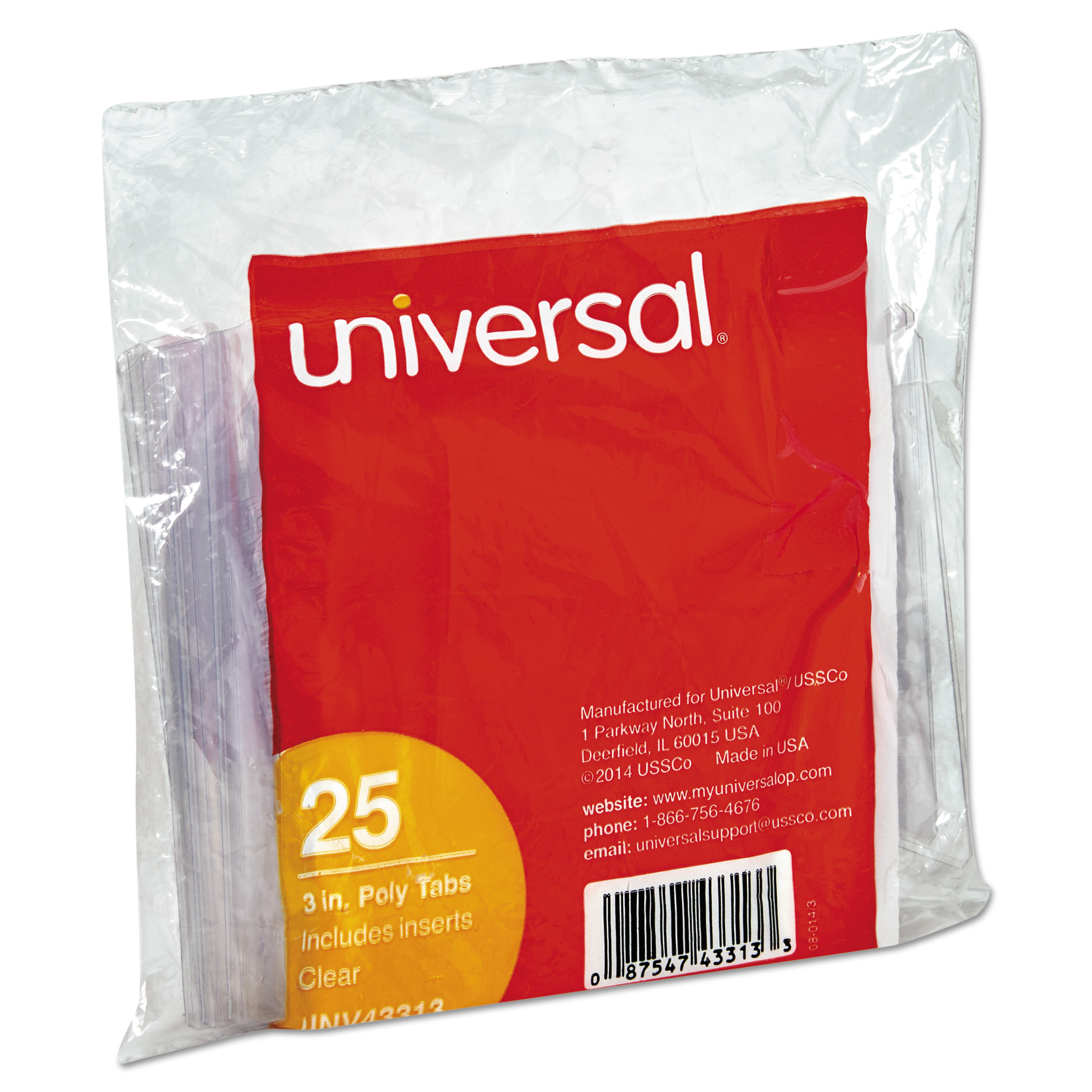 "Universal Hanging File Folder Plastic Index Tabs, 1/3 Tab Cut, 3 1/2"" Tab, Clear, 25/Pack"