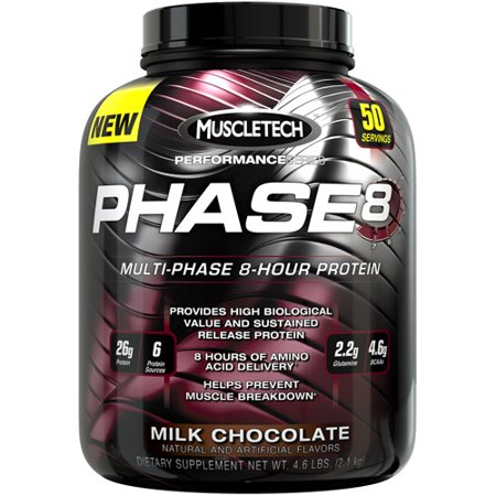 Muscletech Performance Series Phase8 Multi Phase 8 Hour Protein Milk Chocolate Dietary Supplement Powder  4 6 Lbs