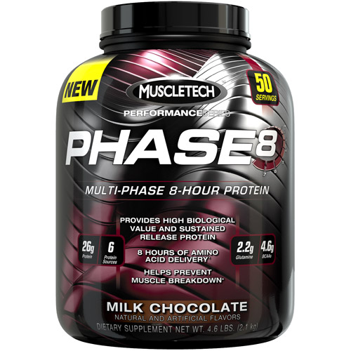 Muscletech Phase 8 Protein Powder, Milk Chocolate, 26g Protein, 4.6 Lb