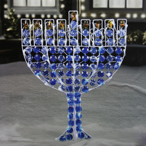 "24"" LED Lighted Menorah Hanukkah Yard Art Decoration - Cool White Lights"