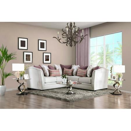 Furniture Of America Elisa Nailhead Tuxedo Sectional Sofa