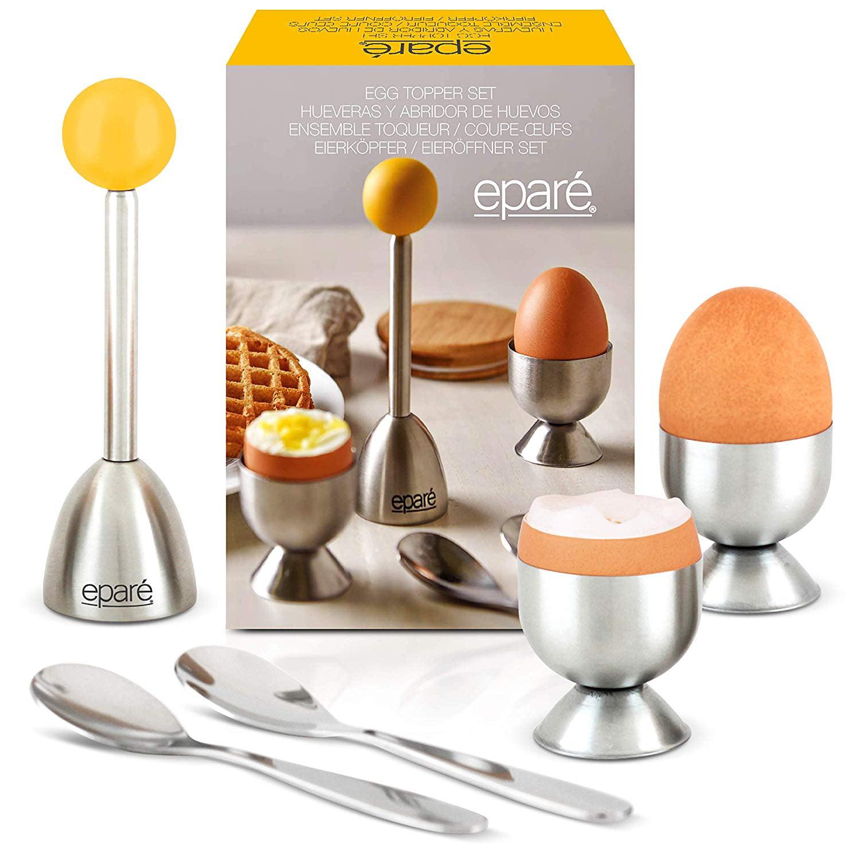 Eggs Opener Spoons Cutter Complete Soft Boiled Egg Tool Set Includes Egg Cups Epar/é Egg Cracker Topper Set 2.0