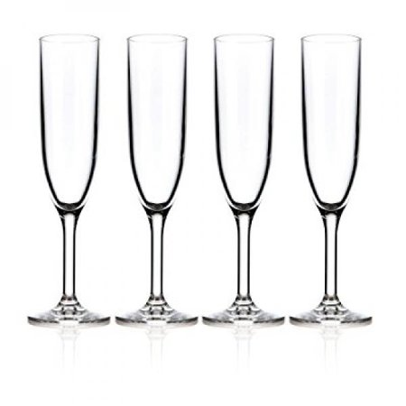 Drinique Champagne Flutes Unbreakable Tritan Stemware, 6 oz (Set of 4), Clear - Marquis Stemware Flute