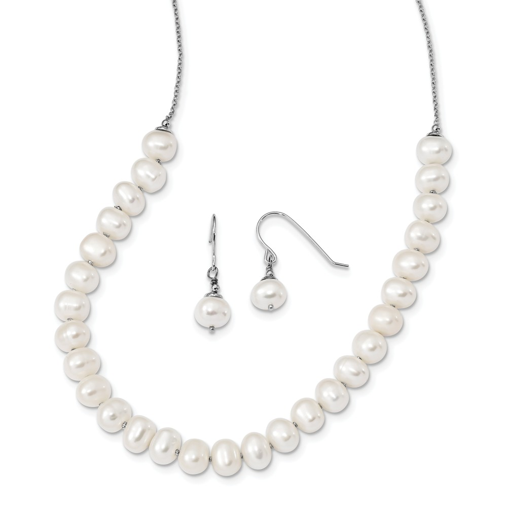 Sterling Silver Rh 7-8mm White Freshwater Cultured Pearl Earrings Necklace Set by