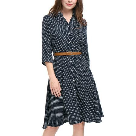 Women's Polka Dots Pattern 3/4 Sleeves Belted A Line Midi Shirt Dress S Blue Cotton Dotted Pattern Dress Shirt