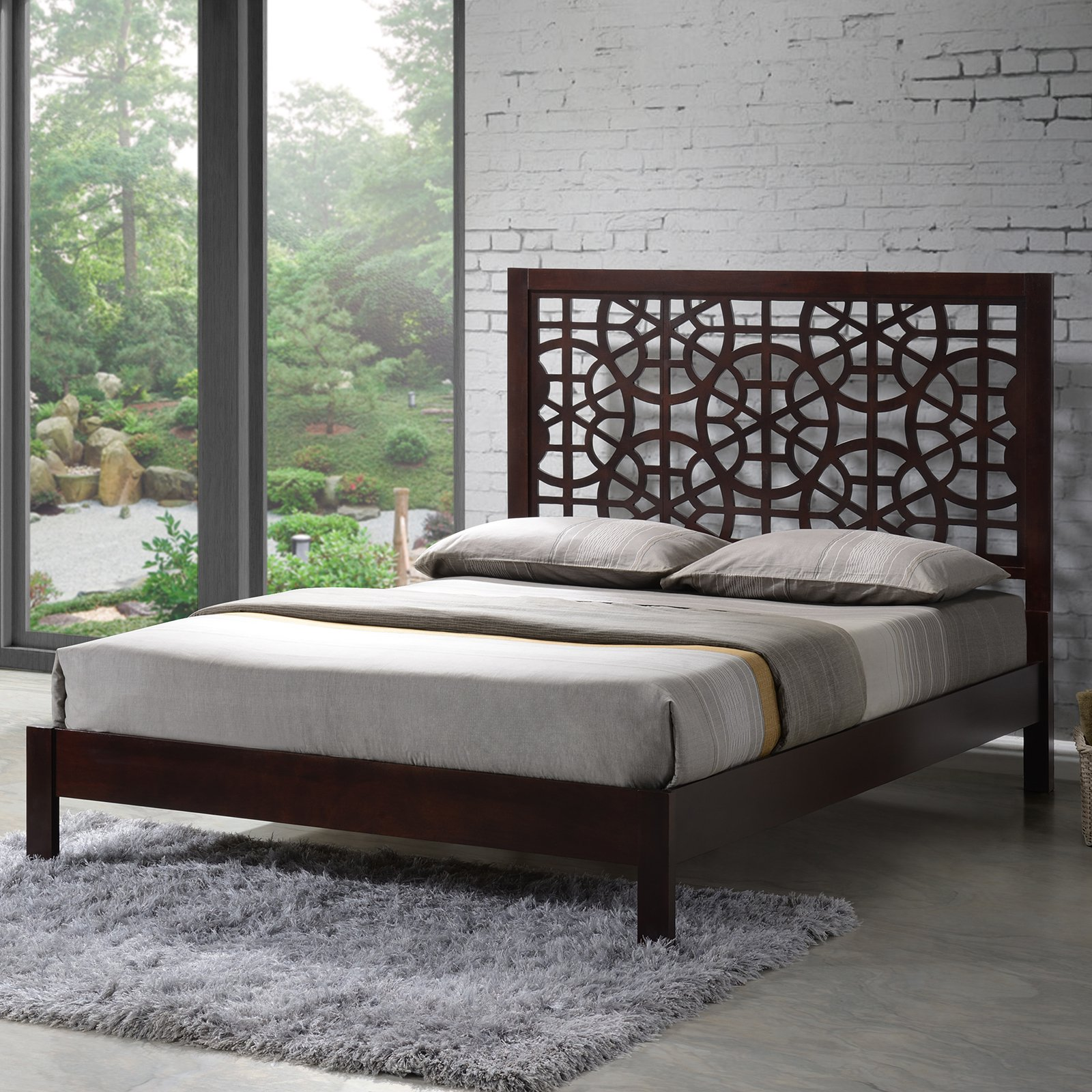 Baxton Studio Sakuro Circle Wood Platform Bed - Cappuccino