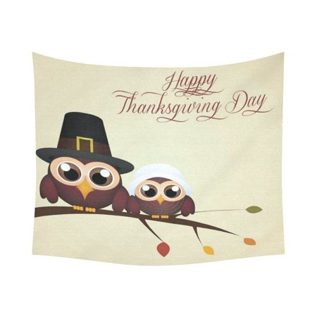 GCKG Cute Owl Branch Happy Thanksgiving Day Tapestry Horizontal Wall Hanging Abstract Holiday Wall Decor Art for Living Room Bedroom Dorm Cotton Linen Decoration 51 x 60 Inches
