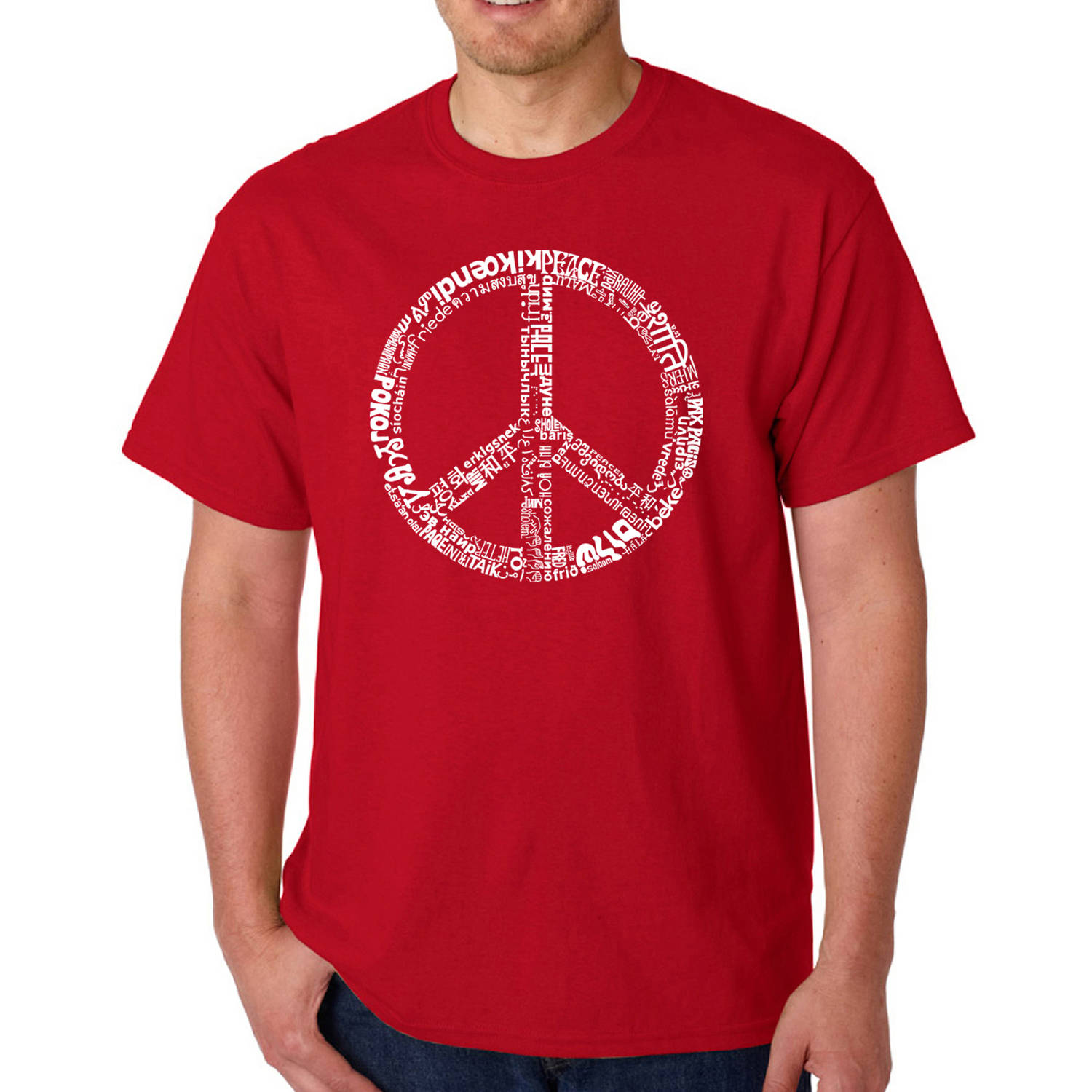 Los Angeles Pop Art Men's T-shirt - The Word Peace in 77 Languages