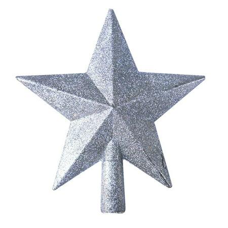 Glittering Star Christmas Tree Topper Shatter-Resistant Plastic Star Ornaments Christmas Tree Decoration Festive Decor Gift ()
