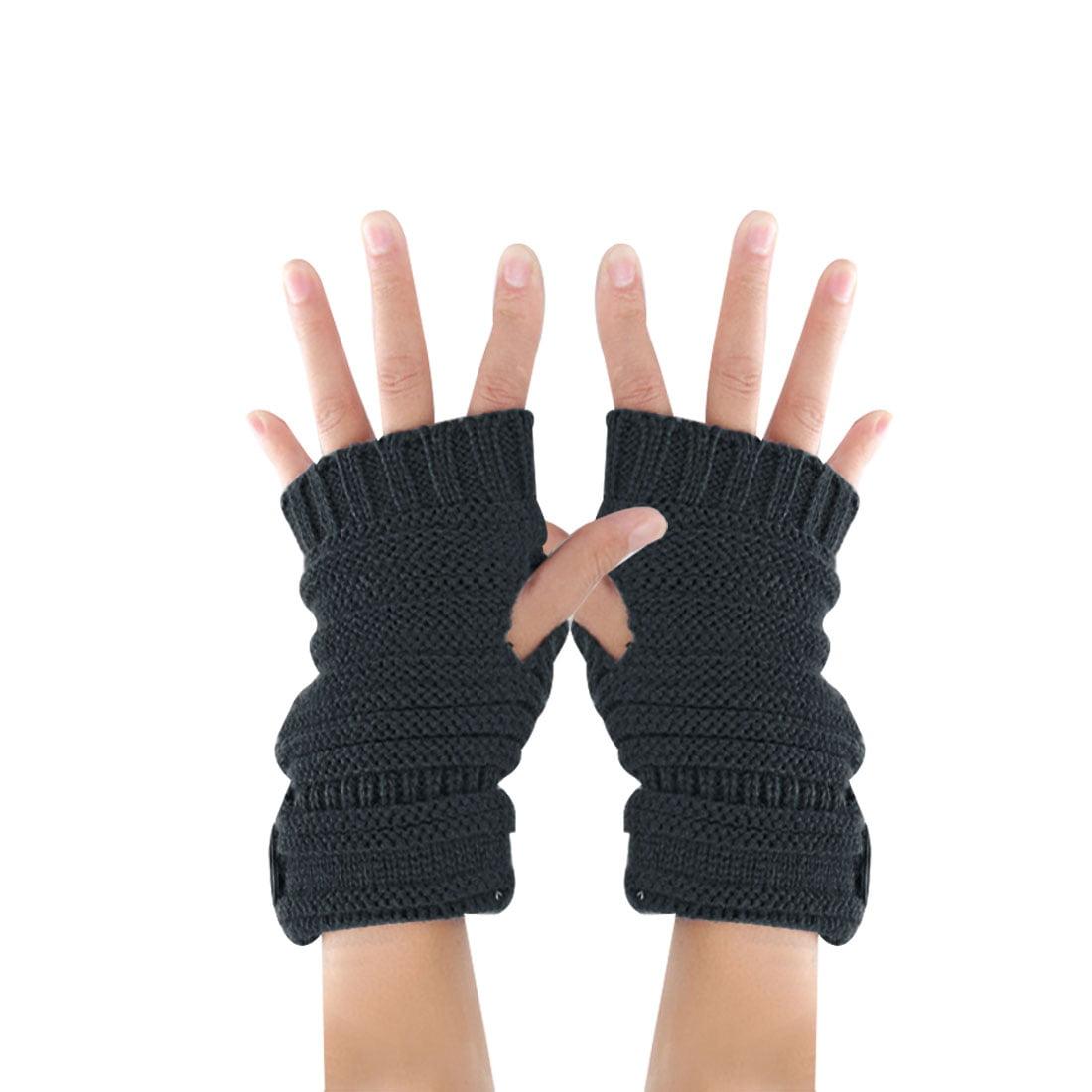 Tasharina Unisex Textured Single Button Decor Acrylic Winter Cozy Gloves Gray