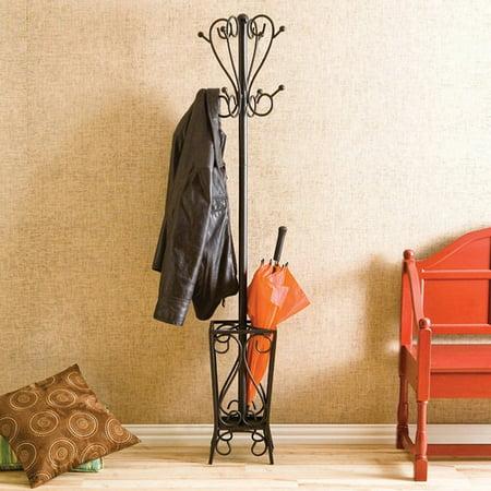Charlton Home Duhon Metal Coat Rack With Umbrella Stand Walmart Custom Metal Coat Rack And Umbrella Stand