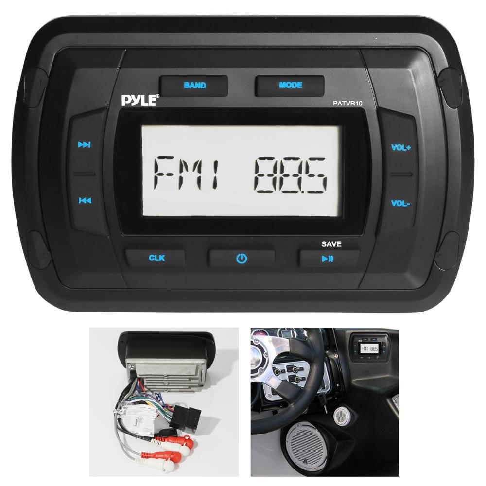 PYLE PATVR10 - Marine Bluetooth Radio Receiver, Water Resistant Stereo Head unit, MP3/USB/AUX