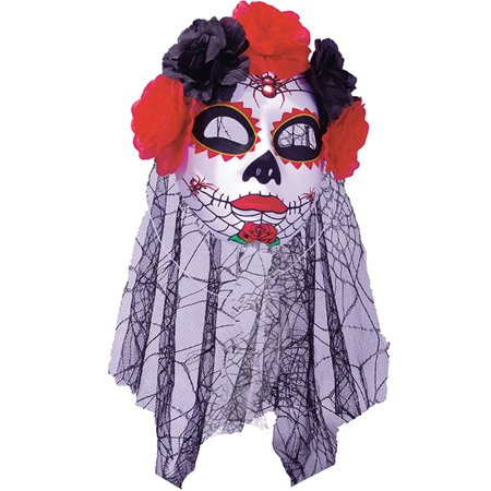Day Of The Dead Sugar Skull Mask With Red Black Rose Headband Spider Web Veil (Skull Mask Day Of The Dead)