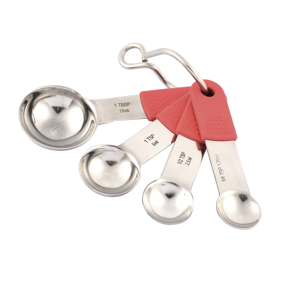 Kitchen Cooking Silicone Handle Stainless Steel Measuring Spoon Cup Set 4 in 1