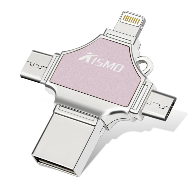 USB Flash Drive 32GB,VIKASI Thumb Drive USB 3.0 Memory Stick for iPhone 8/X iPad iPod iOS Android PC New MacBook,with Extended Lightning USB Type c Pen Jump Drive Adapter( 4 IN1 )