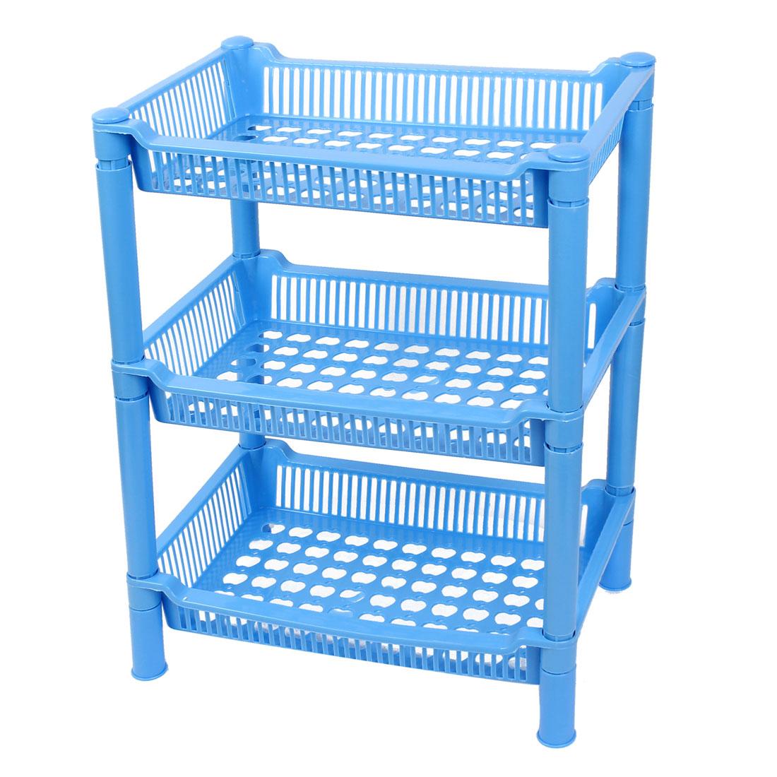 Home Plastic 3 Tier Rectangle Shelf Storage Rack Organizer Blue 36cm High