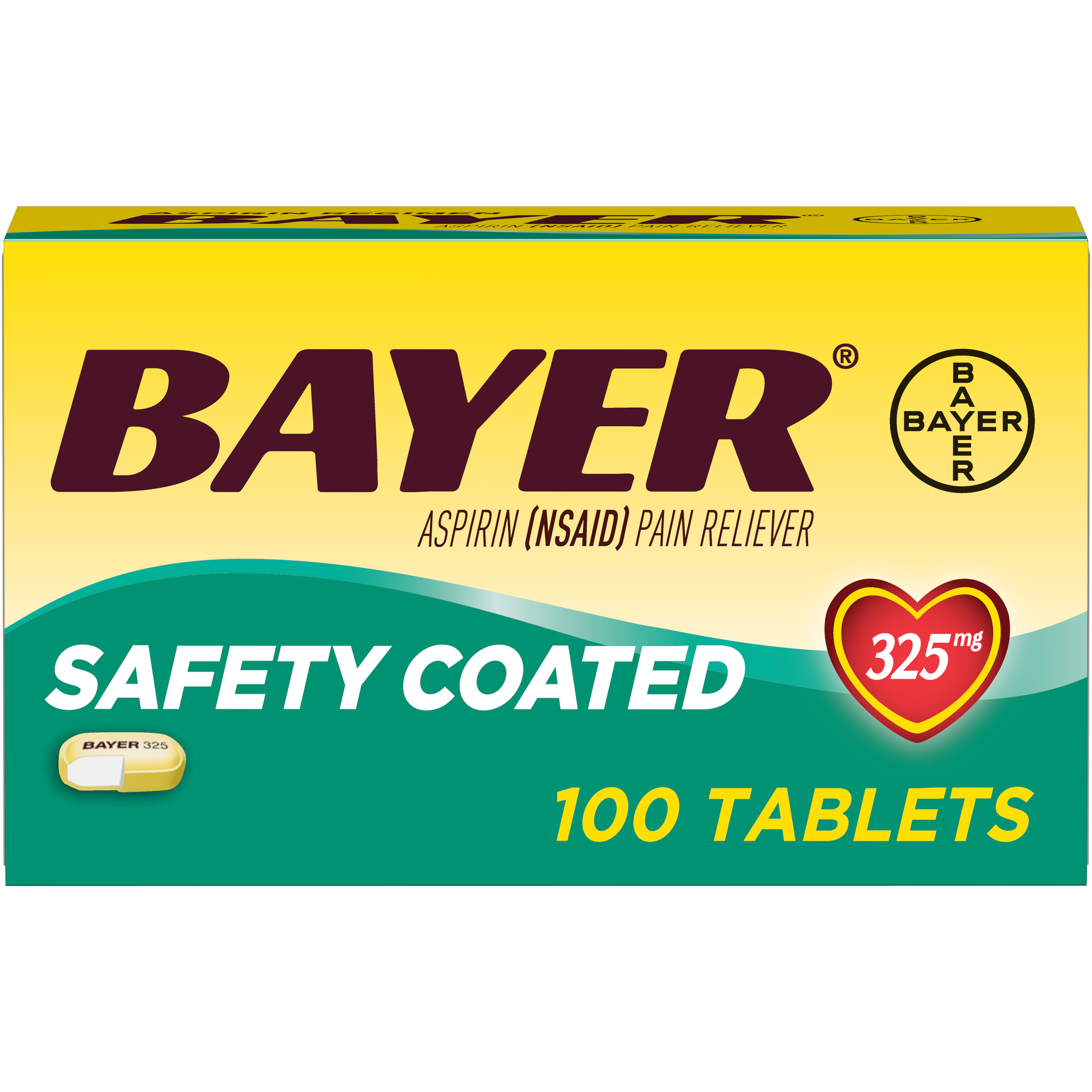 Aspirin Regimen Bayer Regular Dose Pain Reliever Enteric Coated Tablets, 325mg, 100 Ct