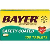 Aspirin Regimen Bayer Regular Dose Pain Reliever Enteric Coated Tablets, 325mg, 100 Ct