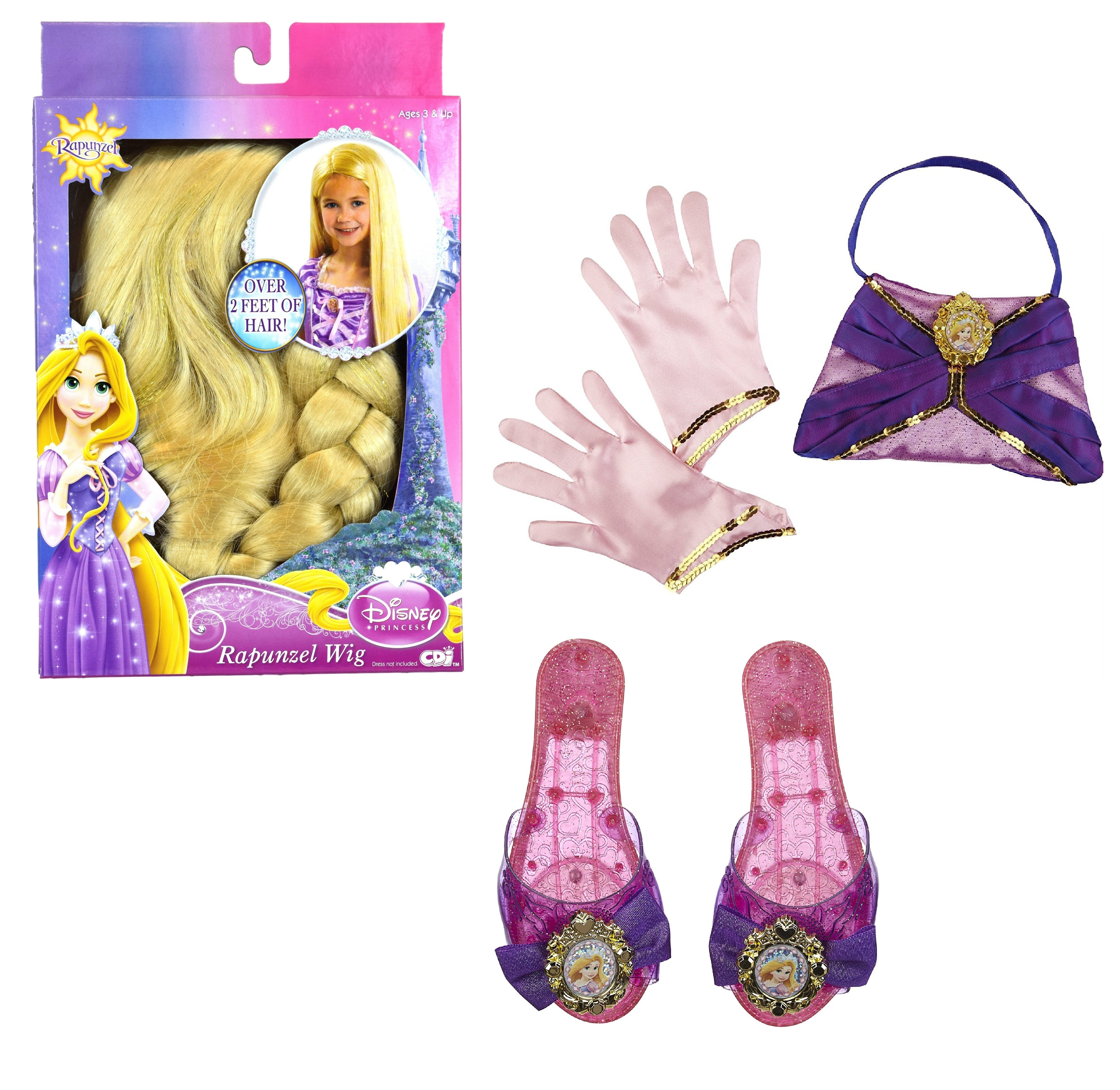 Disney Princess Tangled Rapunzel Dress Up Costume Accessories Set - Wig, Enchanted Evening Purse, Gloves, and Shoes