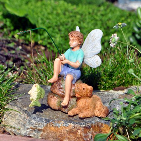 Marshall Home and Garden Gone Fishin' for Miniature Garden, Fairy Garden (Halloween Fairy Garden)