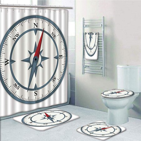 EREHome Compass Minimalist Compass with Windrose Finding Your Way on the Sea Navigation 5 Piece Bathroom Set Shower Curtain Bath Towel Bath Rug Contour Mat and Toilet Lid Cover - image 1 of 2