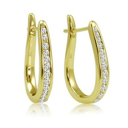 Amanda Rose Collection Diamond Hoop Earrings In 10K Yellow Gold  0  25 Ct